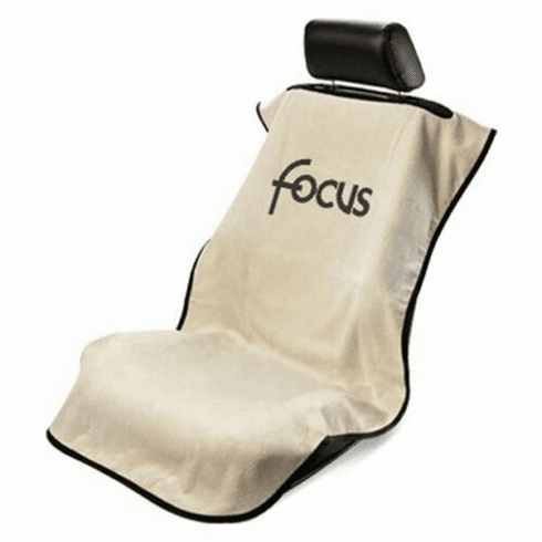 Seat Armour Seat Protector Cover/Towel w/ Ford Focus Logo - Tan