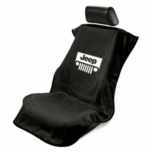Seat Armour Seat Protector Cover/Towel w/ Jeep Grille Logo - Black