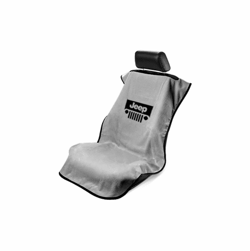 Seat Armour Seat Protector Cover/Towel w/ Jeep Grille Logo - Gray