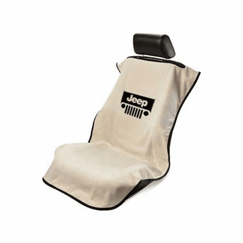 Seat Armour Seat Protector Cover/Towel w/ Jeep Grille Logo - Tan