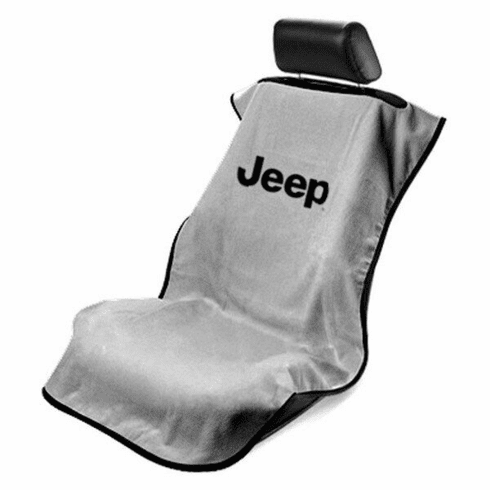 Seat Armour Seat Protector Cover/Towel w/ Jeep Letters Logo - Gray