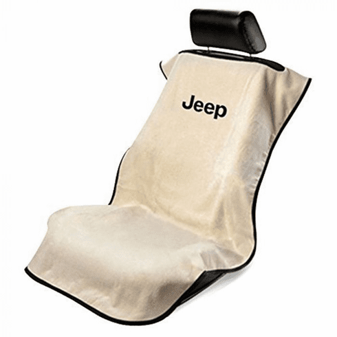 Seat Armour Seat Protector Cover/Towel w/ Jeep Letters Logo - Tan