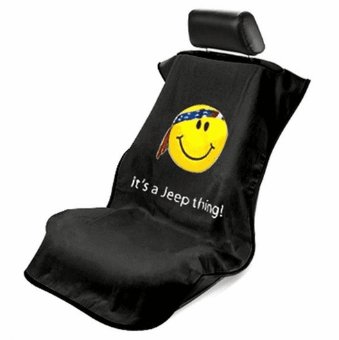 Seat Armour Seat Protector Cover/Towel w/ Jeep Smiley Logo - Black