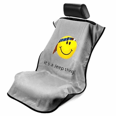Seat Armour Seat Protector Cover/Towel w/ Jeep Smiley Logo - Gray