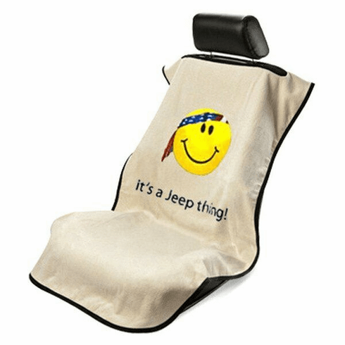Seat Armour Seat Protector Cover/Towel w/ Jeep Smiley Logo - Tan