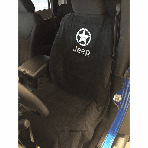 Seat Armour Seat Protector Cover/Towel w/ Jeep Star Logo - Black