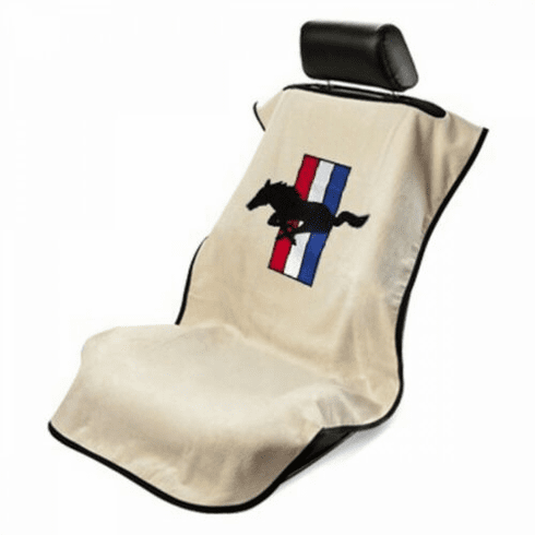 Seat Armour Seat Protector Cover/Towel w/ Mustang Pony Logo - Tan