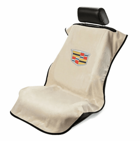 Seat Armour Seat Protector Cover/Towel w/ New Cadillac Logo - Tan