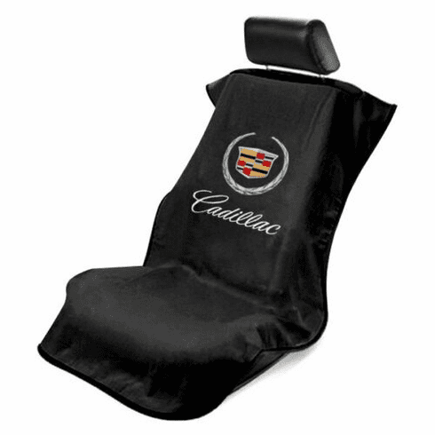 Seat Armour Seat Protector Cover/Towel w/ Old Cadillac Logo - Black
