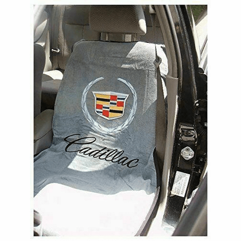 Seat Armour Seat Protector Cover/Towel w/ Old Cadillac Logo - Gray