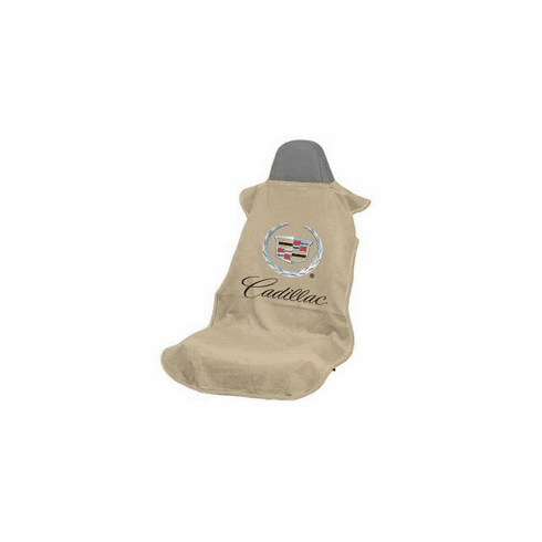 Seat Armour Seat Protector Cover/Towel w/ Old Cadillac Logo - Tan
