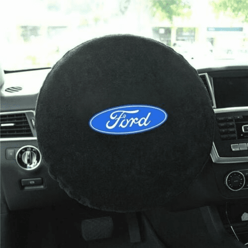 Seat Armour Steering Wheel Cover w/ Ford Logo - Black