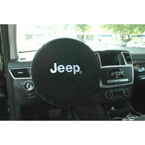 Seat Armour Steering Wheel Cover w/ Jeep Logo - Black