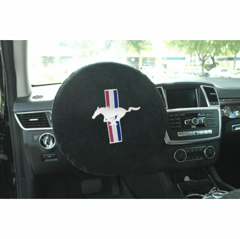 Seat Armour Steering Wheel Cover w/ Mustang Logo - Black