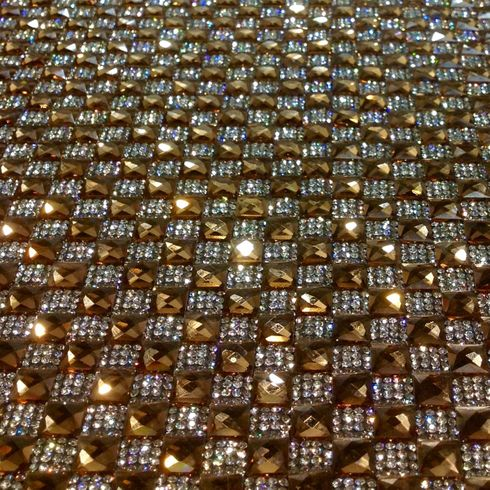 "Rhinestone 16x41"" Table Runner Amber"