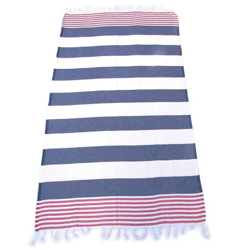 ANCHOR 100% Turkish Cotton Pestemal Bath & Beach Towel Indigo Blue