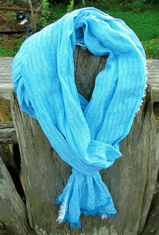 Ultra Soft Baby Blue Scarf with fringe details
