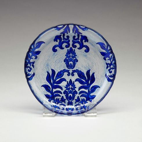 Briliant Blue Damask Canape Plate