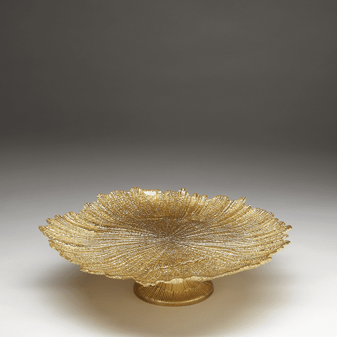 Briliant Coral Gold Footed Cake Plate
