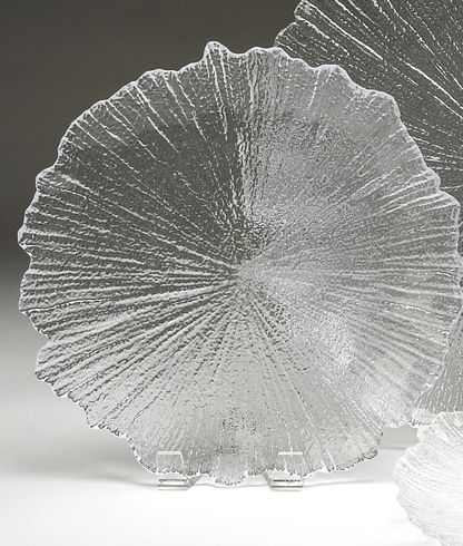 "Brilliant Coral 8"" Salad Plate Clear"