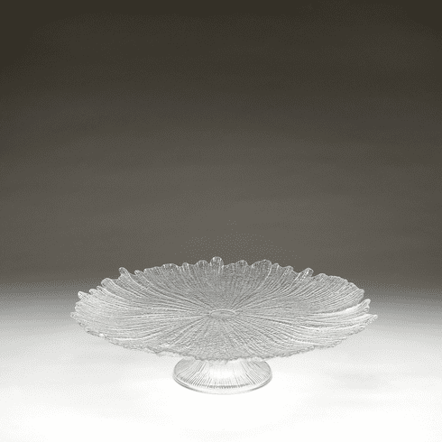 """Brilliant Coral Footed Cake Plate Clear 15"""""""