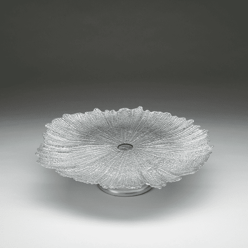 Brilliant Coral Silver Footed Cake Plate