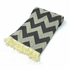 CHEVRON 100% Jacquard Turkish Cotton Pestemal Bath & Beach Towel Black