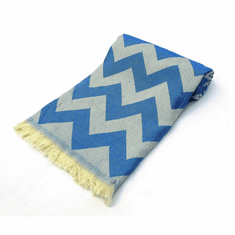 CHEVRON 100% Jacquard Turkish Cotton Pestemal Towel Denim Blue