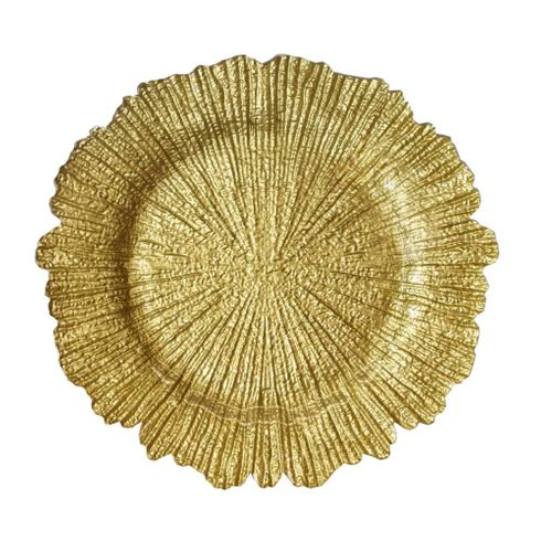 """Coral 13"""" Charger Plate Gold Set of 4"""