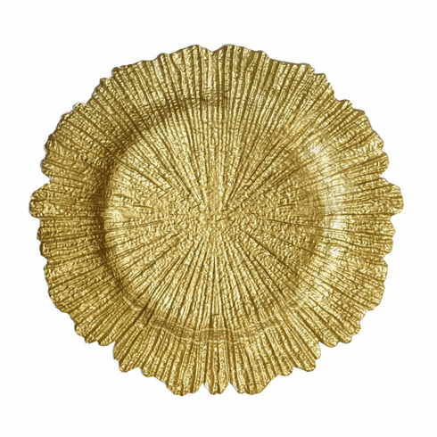 "Coral 13"" Charger Plate Gold Set of 4"