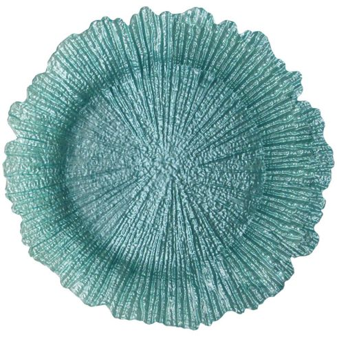 "Coral 13"" Charger Plate Turquoise Set of 4"