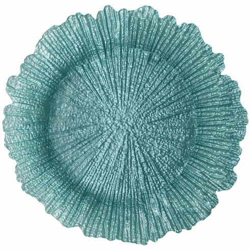 """Coral 13"""" Charger Plate Turquoise Set of 4"""