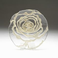 "Country Rose 9"" gold clear glass plate"