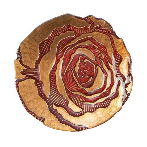 "Country Rose 9"" plate red gold"