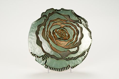 "Country Rose 9"" Turquoise gold plate"