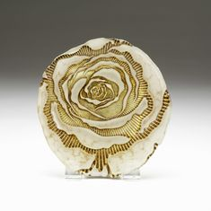 Country Rose plate ivory gold 9""