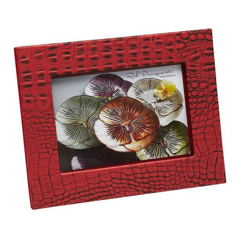 "Crocodile Texture Two Tone Coral Red 5x7"" Photo Frame"