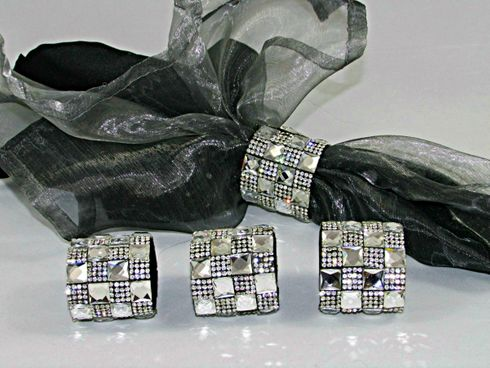 Crystal Rhinestone Napkin rings Set of 4