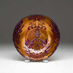Damask Copper Purple bowl 8""