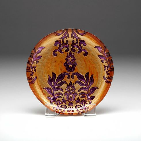 "Damask Copper Purple Canape plate 6.5""  SEE OTHER SIZES"