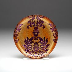Damask Copper Purple Salad Plate 8.5""