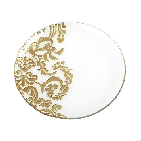 Damask Gold Clear Dinner Plate 11""