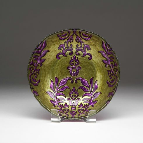 Damask Green Purple Bowl 8""