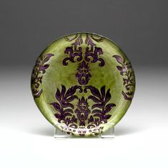 "Damask Green Purple Canape plate 6.5""  SEE OTHER SIZES"