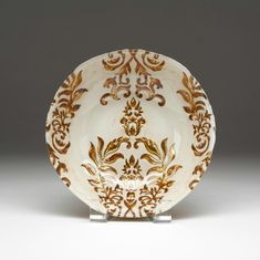 Damask Ivory Gold Bowl 8""