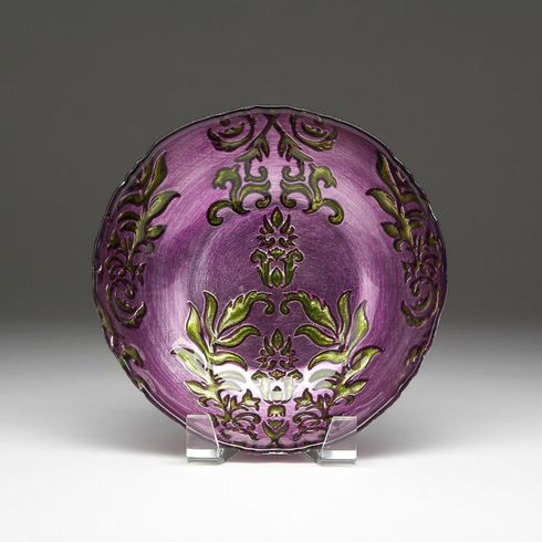 Damask Purple Green bowl 8""