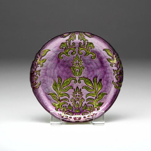 "Damask Purple Green Canape Plate 6.5""  SEE OTHER SIZES"