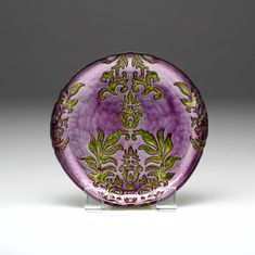 Damask Purple Green Salad Plate 8.5""