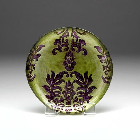 Damask Salad Plate Green Purple 8.5""