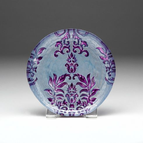 Damask Two Tone Purple Salad Plate 8.5""